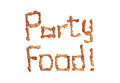 Party snacks the words food made from savoury on a white background Royalty Free Stock Images
