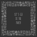Party square frame. Celebration pattern. Birthday, holidays, event, carnival festive. Party decor elements thin icons. Funny vecto