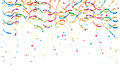 Party streamers and confetti colorful on white background illustration Royalty Free Stock Photos