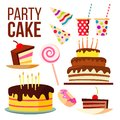 Party Sweet Cake Vector. Big Celebration Cake. Festive, Holiday, Birthday Design Element. Isolated Cartoon Illustration