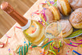 Party table with champagne pancakes and on a colorful setting Stock Images