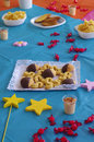 Party table colorful snack set in a children s birthday Royalty Free Stock Images
