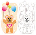 Party teddy bear with balloons Stock Photo