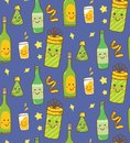 Party theme background with kawaii drink