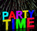 Party Time Word With Fireworks Stock Photos