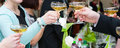 Party toast holiday event people cheering each other with champagne drink Royalty Free Stock Photo