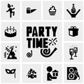 Party vector icons set on gray Royalty Free Stock Photo