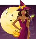 Party witch sexy on a drinking a cocktail Royalty Free Stock Images