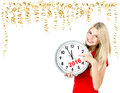 Partytime. Save the date. Five to twelve. Young woman with a clo Royalty Free Stock Photo