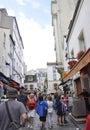 Paryż august ancient ulica w montmartre w paryż Zdjęcia Stock