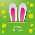 Pascua feliz bunny ears green background Imágenes de archivo libres de regalías