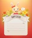 Pascua feliz bunny girl greeting card Imágenes de archivo libres de regalías