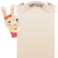 Pascua feliz bunny girl looking en el cartel en blanco Imágenes de archivo libres de regalías