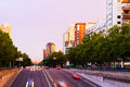 Paseo de la Castellana in dusk.  Madrid Royalty Free Stock Photo