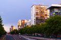 Paseo de la Castellana in evening. Madrid , Spain Royalty Free Stock Photo