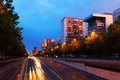 Paseo de la Castellana - most important street in Chamartin dist Royalty Free Stock Photo