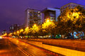 Paseo de la Castellana  in summer night. Madrid Royalty Free Stock Photo