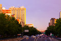 Paseo de la Castellana in sundown.  Madrid Royalty Free Stock Photo