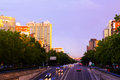 Paseo de la Castellana in sunset time.  Madrid Royalty Free Stock Photo