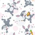Pasqua bunny rabbits seamless pattern Fotografie Stock Libere da Diritti