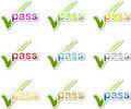 Pass checkmark motivation sticker Royalty Free Stock Photo