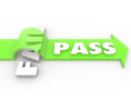 Pass vs fail arrow over word grade test quiz result to illustrate a good passing on a exam evaluation assessment or other Stock Photography