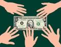 Passa il dollaro afferrante Fotografia Stock