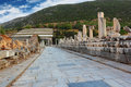 Passage in ephesus stone with pillars along the way turkey Royalty Free Stock Images
