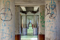 Passage in the sea, murales on pillars of jetty in Versilia (Viareggio) Royalty Free Stock Photo