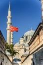 Passage with Turkish flag - Suleymaniye mosque, Istanbul, Turkey Royalty Free Stock Photo