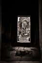 Passage view of a face in Bayon, Angkor, Cambodia Royalty Free Stock Image