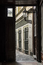 Passageway leading into the a courtyard Royalty Free Stock Photography