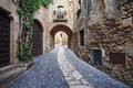 Passageway in pals the old town of girona catalonia Royalty Free Stock Images