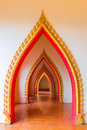 Passageway in the temple, Kanchanaburi Royalty Free Stock Photo