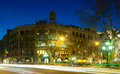 Passeig de gracia in winter night barcelona building at spain Royalty Free Stock Image