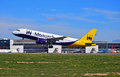 Passenger Aircraft Monarch Airlines Taking Off Royalty Free Stock Photo