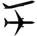 Passenger airplane vector side and top view Royalty Free Stock Photo