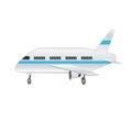 Passenger airplane on a white