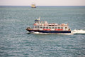 Passenger boat floating by english channel july near st peter port guensey the herm trident ferry sails daily from Stock Photos
