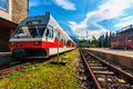 Passenger commuter electric train at the station,Strbske Pleso,Slovakia