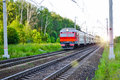 Passenger commuter train in motion. Russia Royalty Free Stock Photo