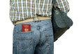 Passenger holding Russian passport in rear pocket Royalty Free Stock Photo