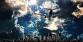 Passenger jet set against cityscape illustration Royalty Free Stock Photo