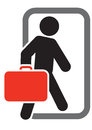 Passenger with luggage moving forward Royalty Free Stock Image