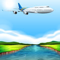 A passenger plane flying illustration of Stock Image