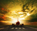 Passenger plane ready to take off on airport runways use for tra Royalty Free Stock Photo