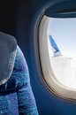 Passenger seat in an airplane close up Royalty Free Stock Photo