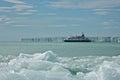 Passenger ship anchoring brasvellbreen at nordaustlandet svalbard is a glacier in Stock Photo