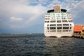 Passenger ship harbor rainbow sky Royalty Free Stock Images