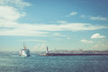 Passenger ship in istanbul on water and mosque on horizon Royalty Free Stock Image
